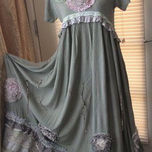 Green Long Dress Sz S Upcycled Handmade Boho